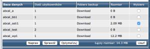 Lista baz danych użytkownika.