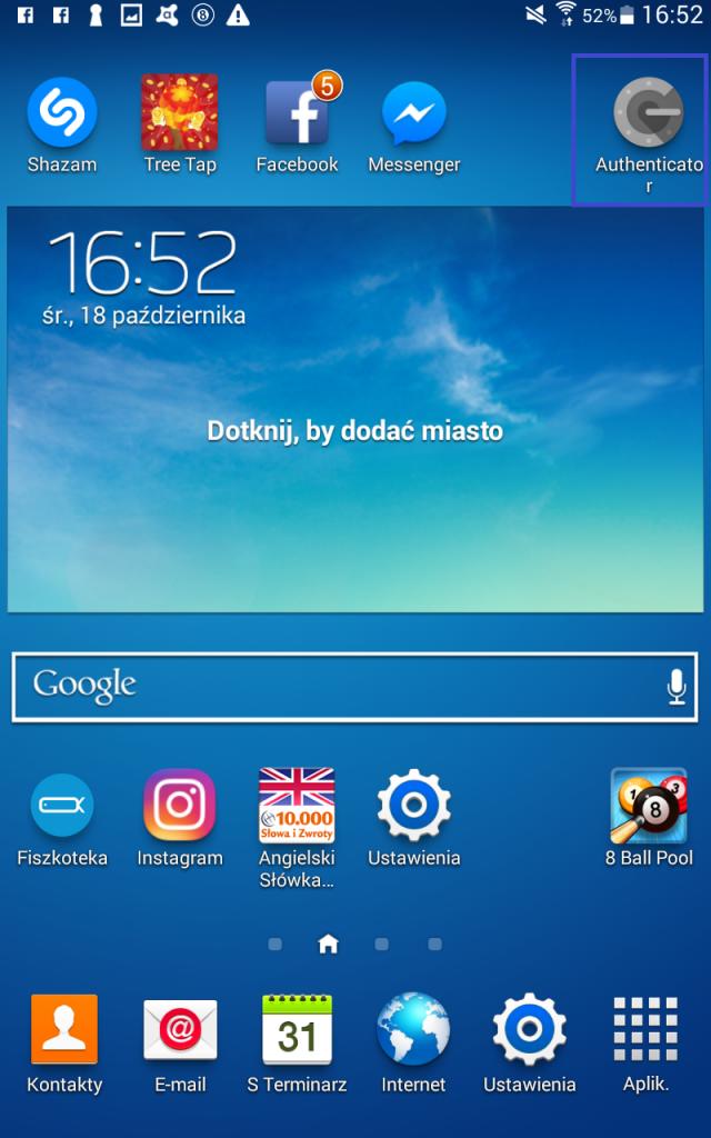 Aplikacja authenticator na androida