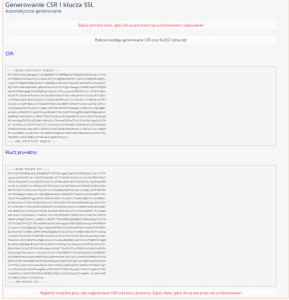 Wygenerowany csr oraz klucz SSL