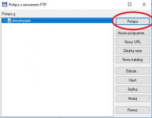 Łączenie z profilem FTP w programie Total Comannder.