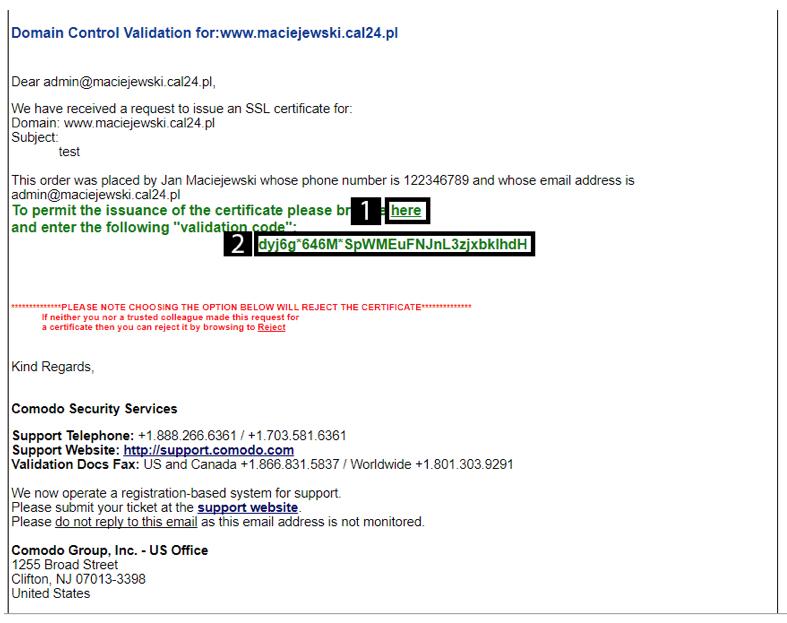 Wiadomość z potwierdzeniem zamówienia certyfikatu