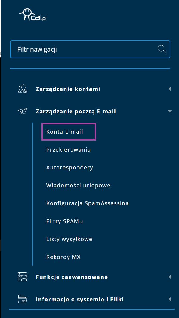 opcja Konta Email