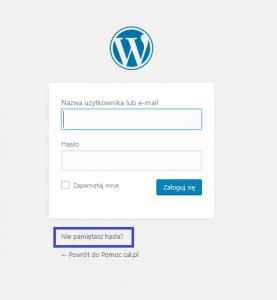 Panel logowania do WordPress-a.