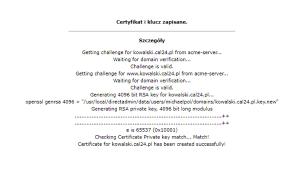 Komunikat z potwierdzeniem certyfikatu Lets Encrypt w Direct admin