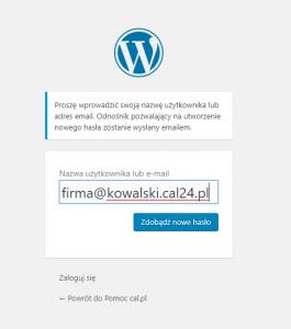 Restartowanie hasła do WordPress-a.