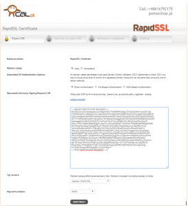 Scren z rozpoczecia procedury podpisania certyfikatu