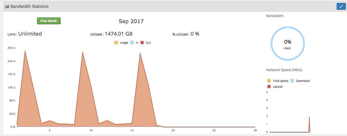 Statystyki zużycia serwera VPS
