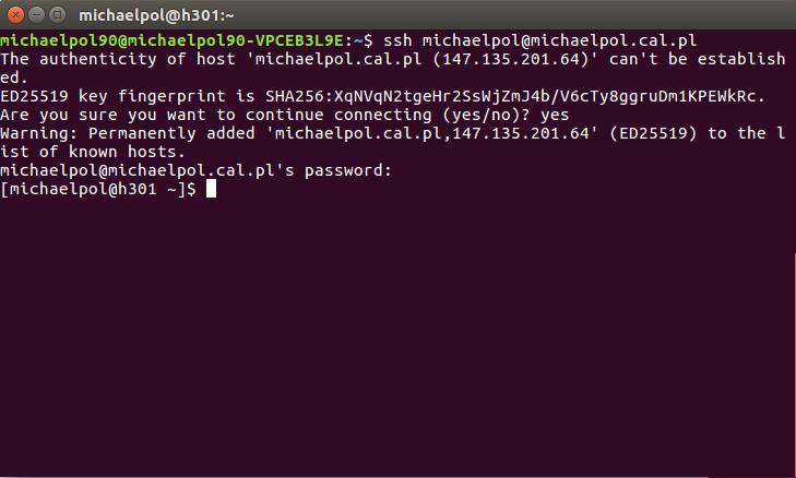 Ekran stanu zalogowania na ssh na linuxie