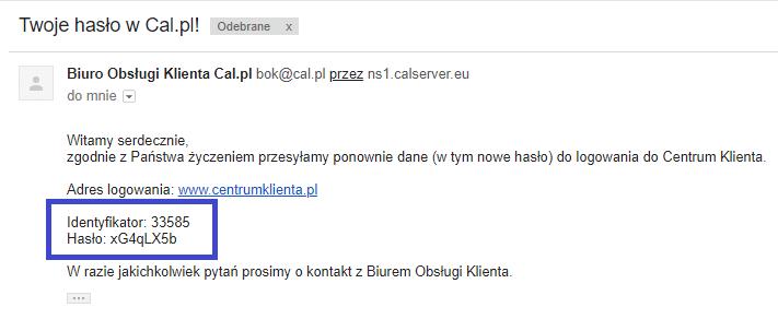 Wiadomość email z nowym hasłem